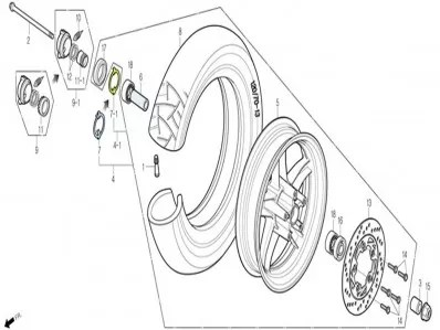 Eje rueda delantera Daelim S1 125 2007-2012
