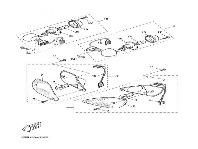Intermitentes traseros pareja Yamaha Aerox 50 1997-2006