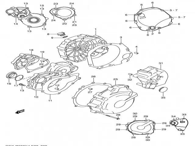 Tapa del piñon de ataque del motor Suzuki Gsx 600 r 2004