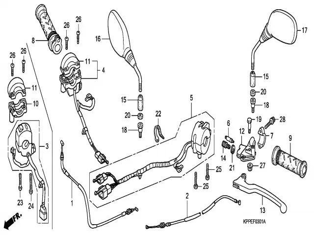 Retrovisor izquierdo Honda Cbr r 125 2008-2009