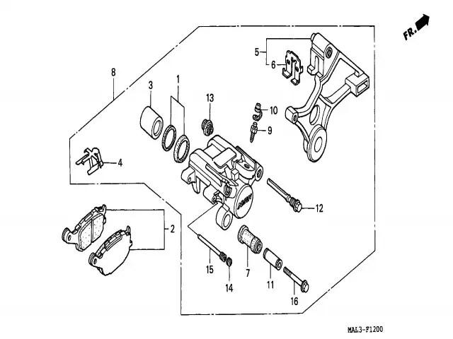 Pinza freno trasera Honda Cbr 600 1991-1996