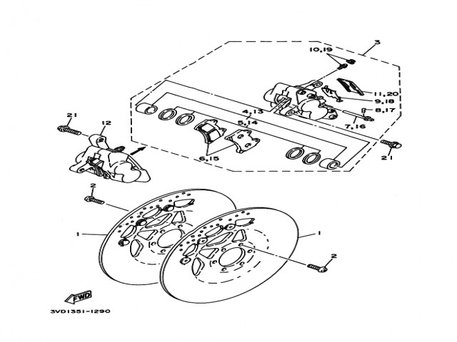Pinza freno delantera izquierda Yamaha Tdm 850 1991-1995