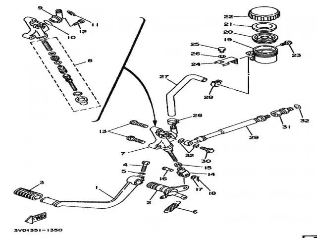 Pedal freno trasero Yamaha Tdm 850 1991-1995