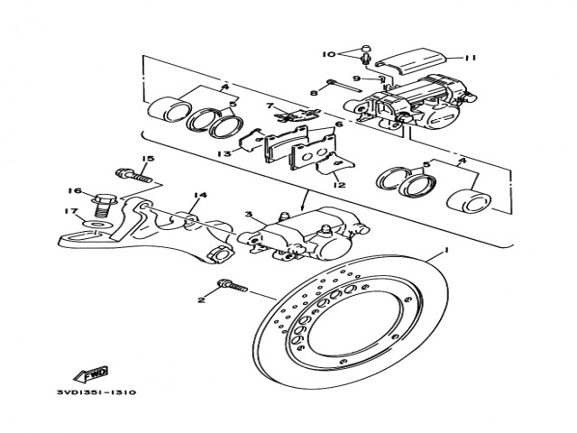 Soporte pinza freno trasera Yamaha Tdm 850 1991-1995