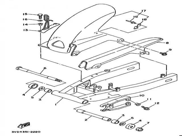 Aleta pase rueda inferior Yamaha Tdm 850 1991-1995