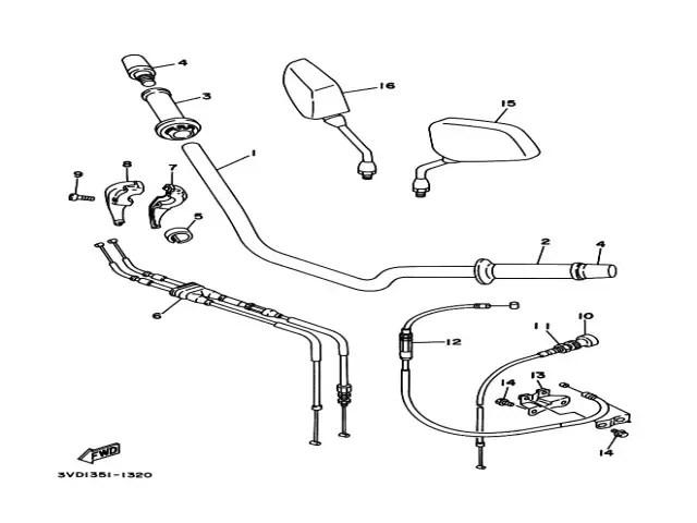 Retrovisor derecho Yamaha Tdm 850 1991-1995