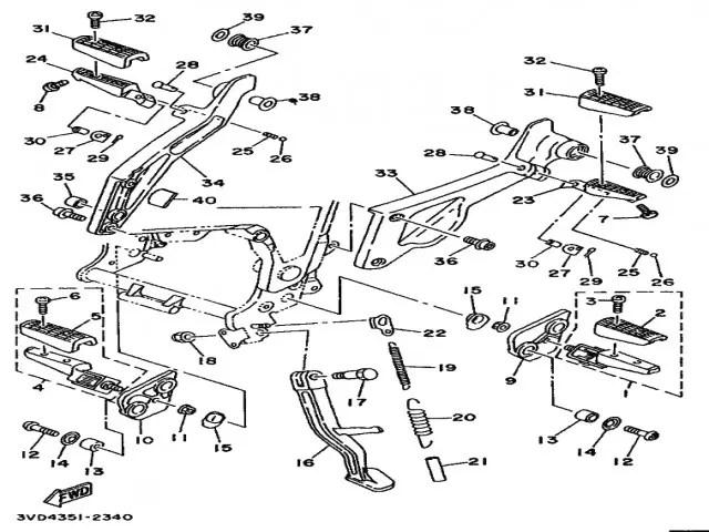 Estribera trasera derecha Yamaha Tdm 850 1991-1995
