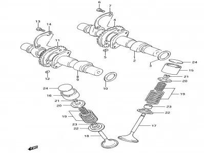 Arbol de levas admision Suzuki Gs e 500 1989-2001