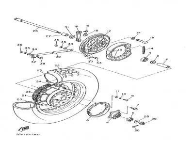 Buje de rueda trasera Yamaha Virago 535 1988-1995