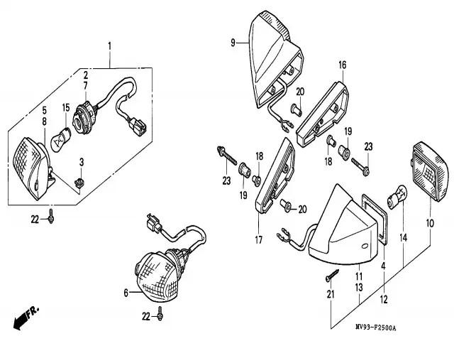 Intermitente trasero derecho Honda Cbr 600 1991-1996