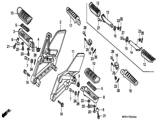 Estribera trasera izquierda Honda Cbr 600 1991-1996