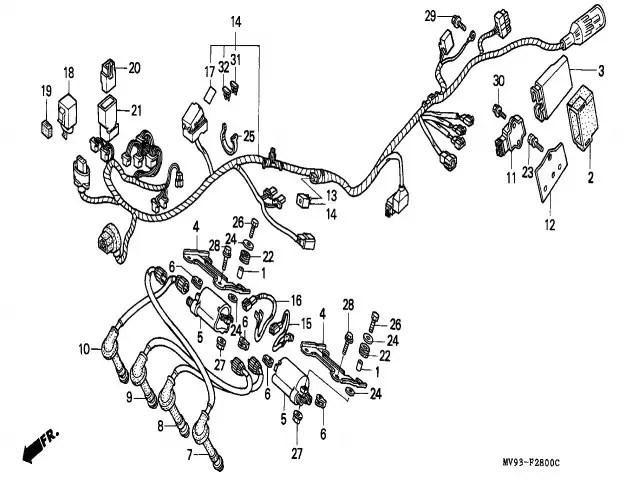 Bobina alta 2-3 Honda Cbr 600 1991-1996
