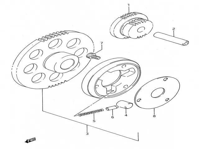 Piñon doble motor arranque Suzuki Gs e 500 1989-2001