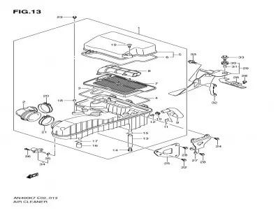 Caja filtro aire Suzuki Burgman 400 2007-2013