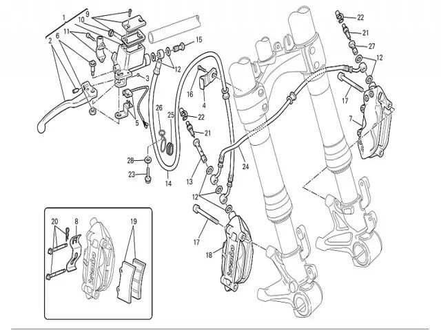 Pinza de freno delantera derecha Ducati Monster 696 2008-2011