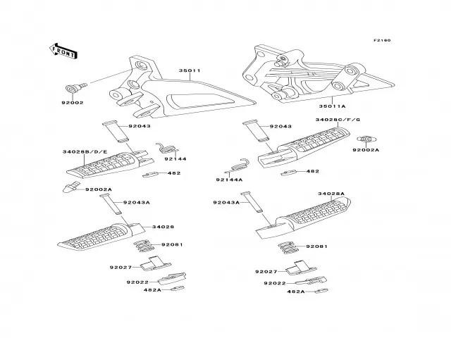 Soporte estribera delantero izquierdo Kawasaki Zzr 250
