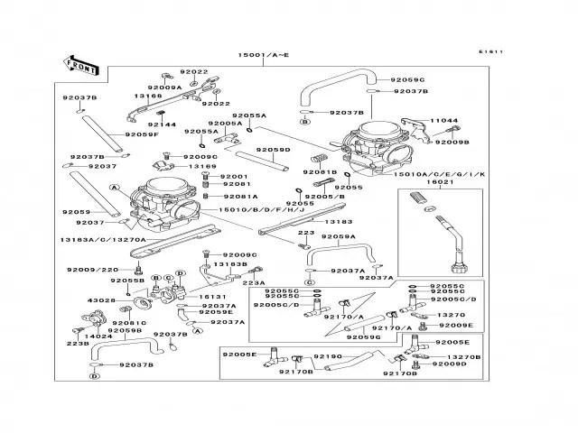 Bateria carburadores Kawasaki Zzr 250 1990-2004