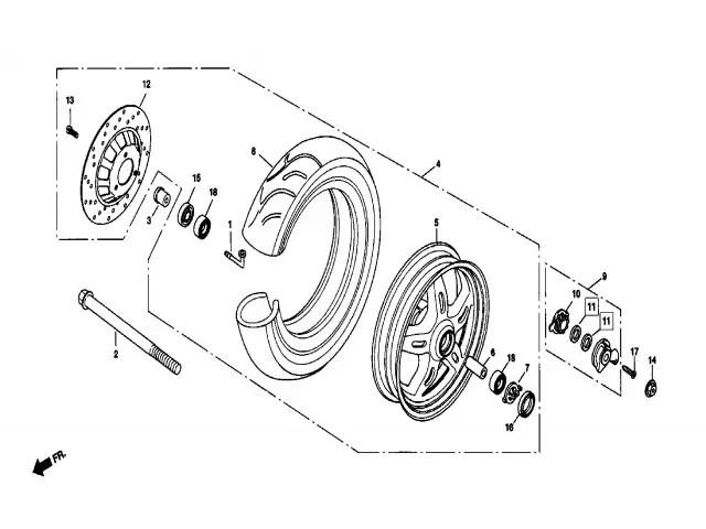 Eje rueda delantera Daelim Ns 125 1999-2002