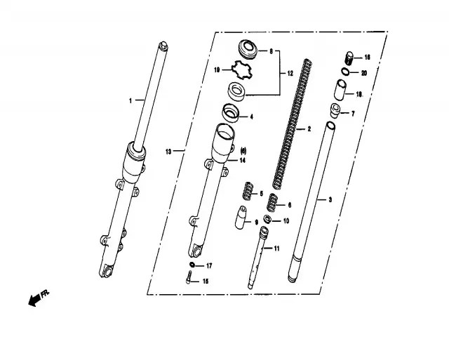 Barra completa derecha Daelim Ns 125 1999-2002