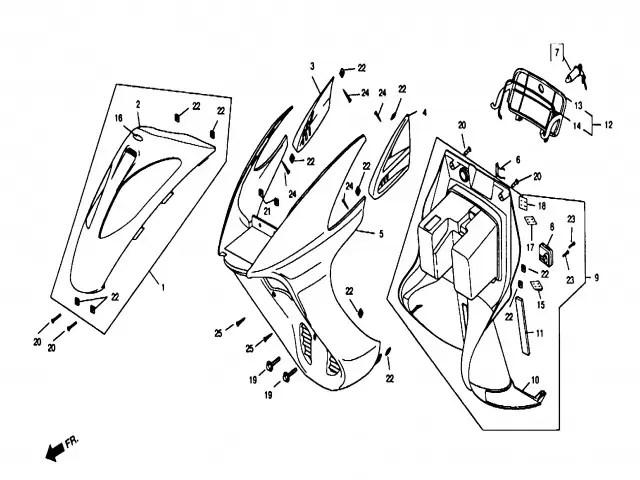 Carenado superior inferior Daelim Ns 125 1999-2002