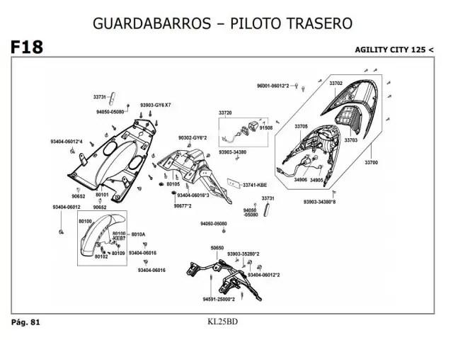 Piloto trasero Kymco Agility city 125 2007-2014