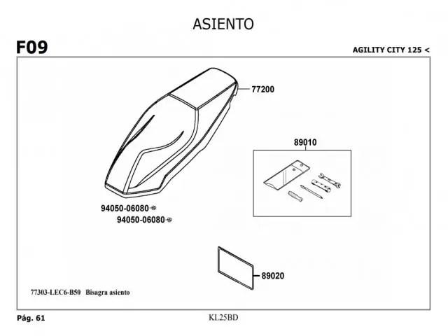 Asiento Kymco Agility city 125 2007-2014