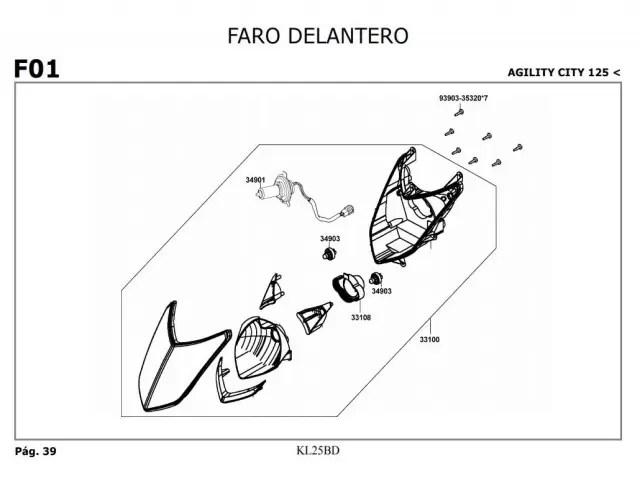 Faro Kymco Agility city 125 2007-2014