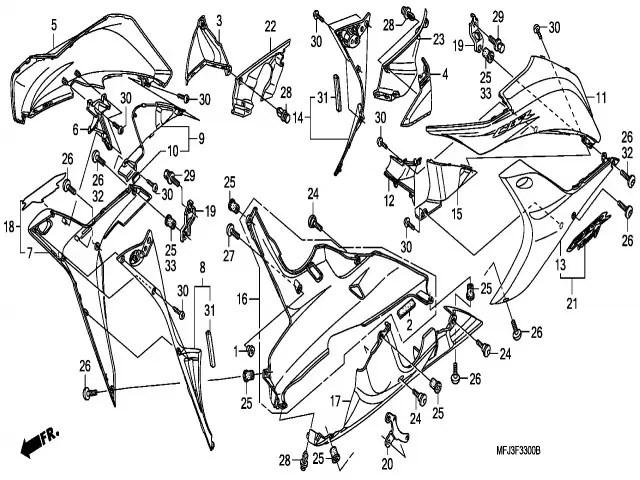 Faldon superior izquierdo varios colores Honda Cbr 600 rr