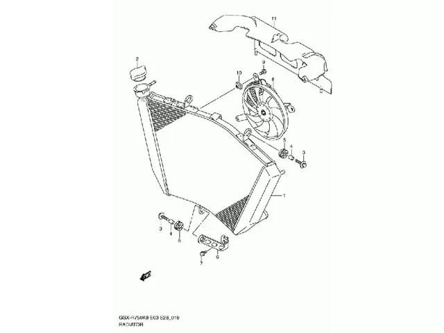 Radiador agua SUZUKI GSX 600 r / 750 R 750 2008-2010 moto