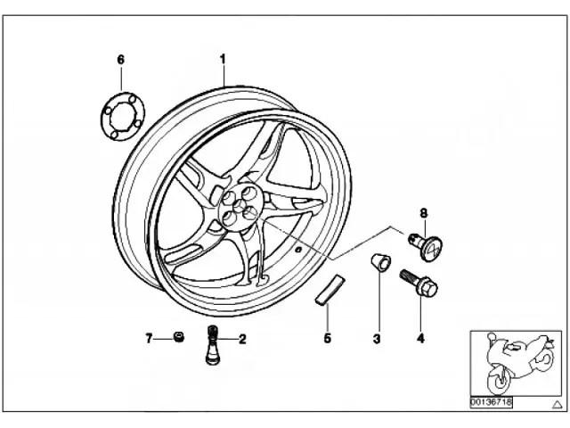 Rueda trasera reparar BMW R850R 850 2000-2014 despiece de moto