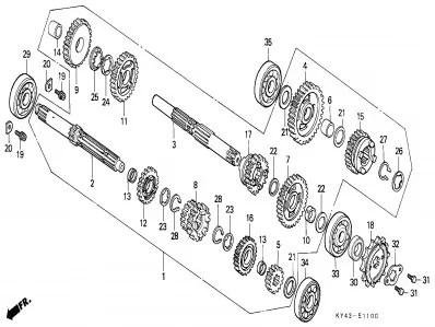 Eje primario del cambio Honda Nsr 125 1990-1993