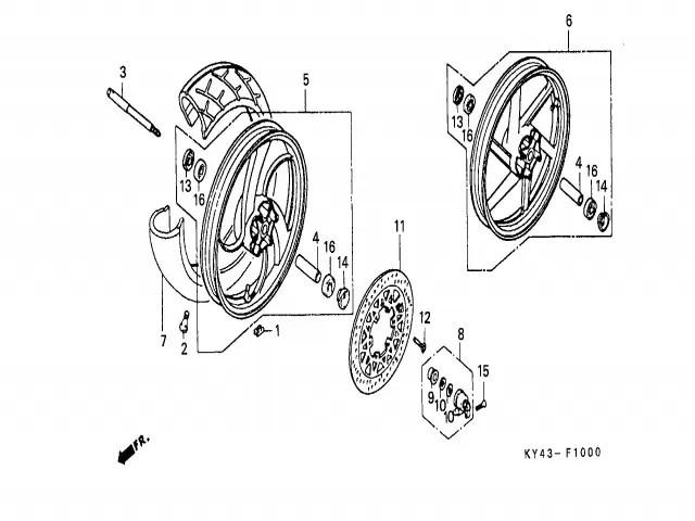 Eje rueda delantera Honda Nsr 125 1990-1993