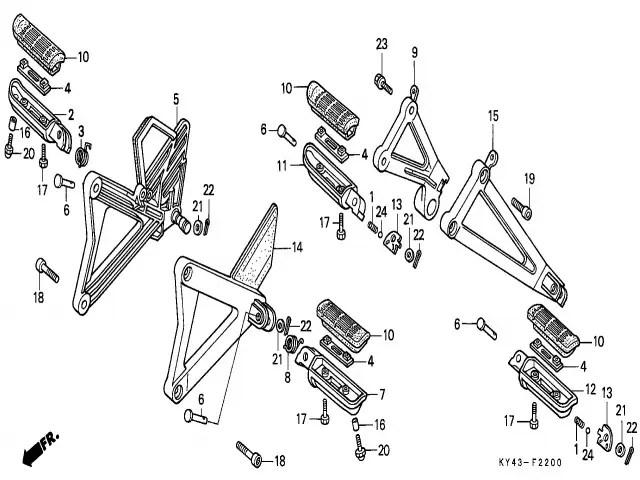 Estribera trasera izquierda Honda Nsr 125 1990-1993