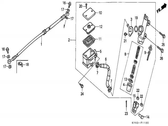Bomba freno trasero Honda Nsr 125 1990-1993