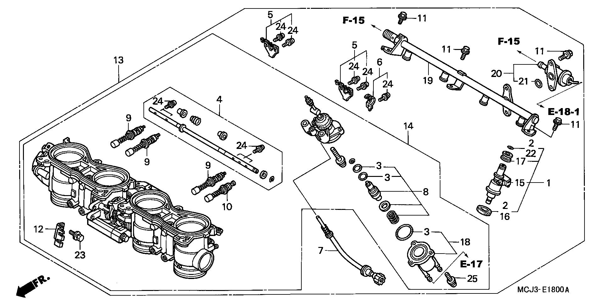 Regulador de presion de rampa de inyección Honda