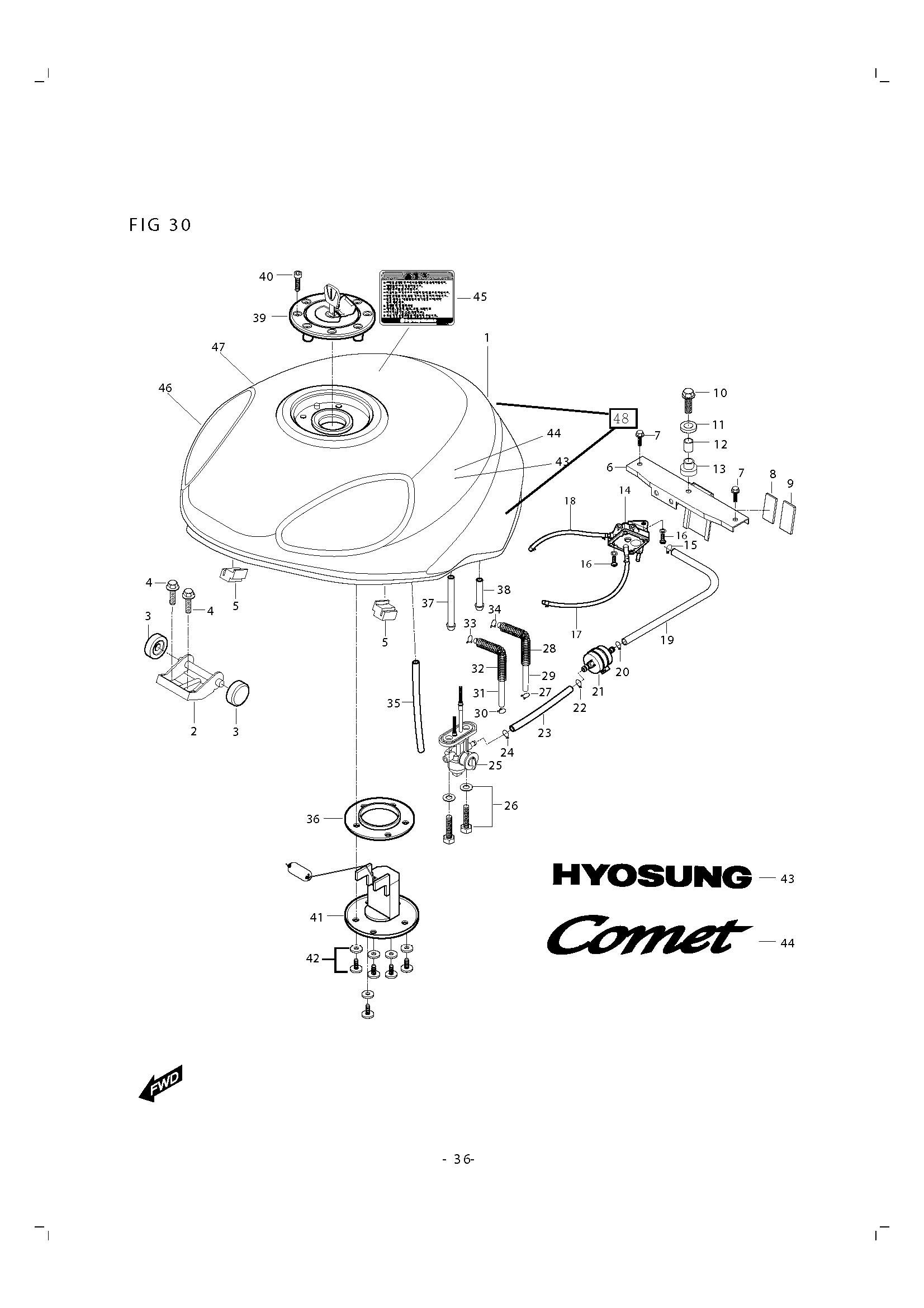Grifo gasolina Hyosung Gtr 250 2006-2007