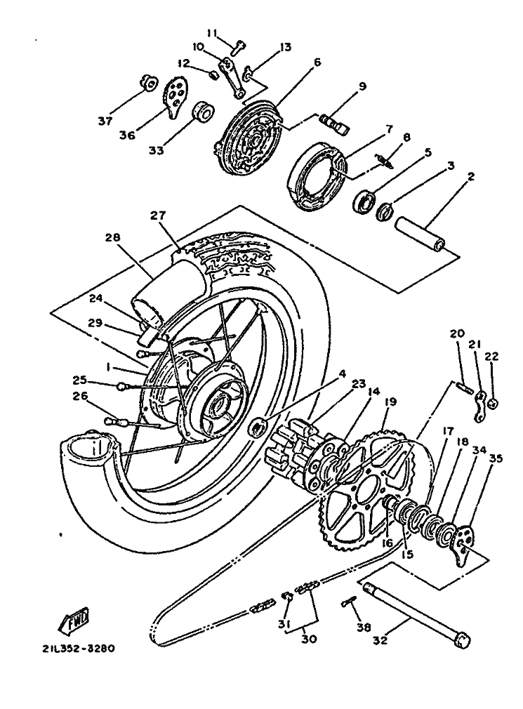 Buje de rueda trasera Yamaha Sr 250 1980-1989