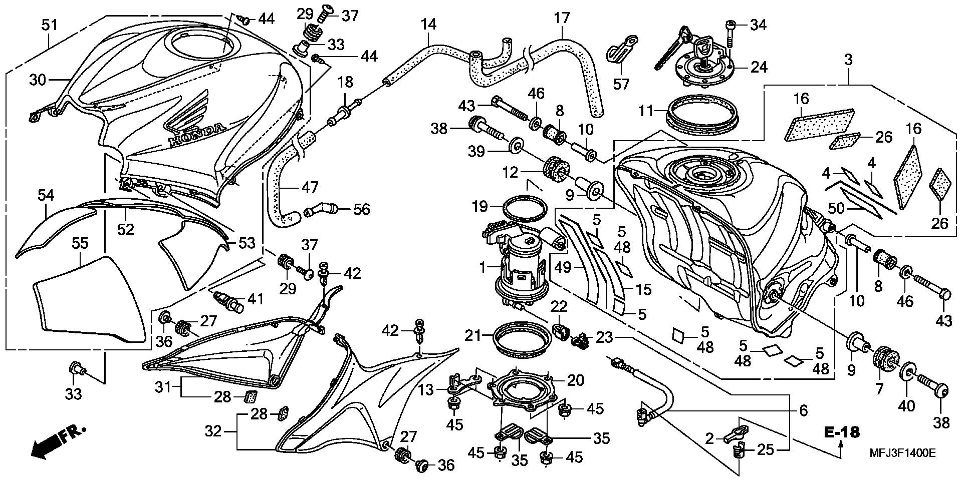 Embellecedor deposito derecho varios colores Honda Cbr 600