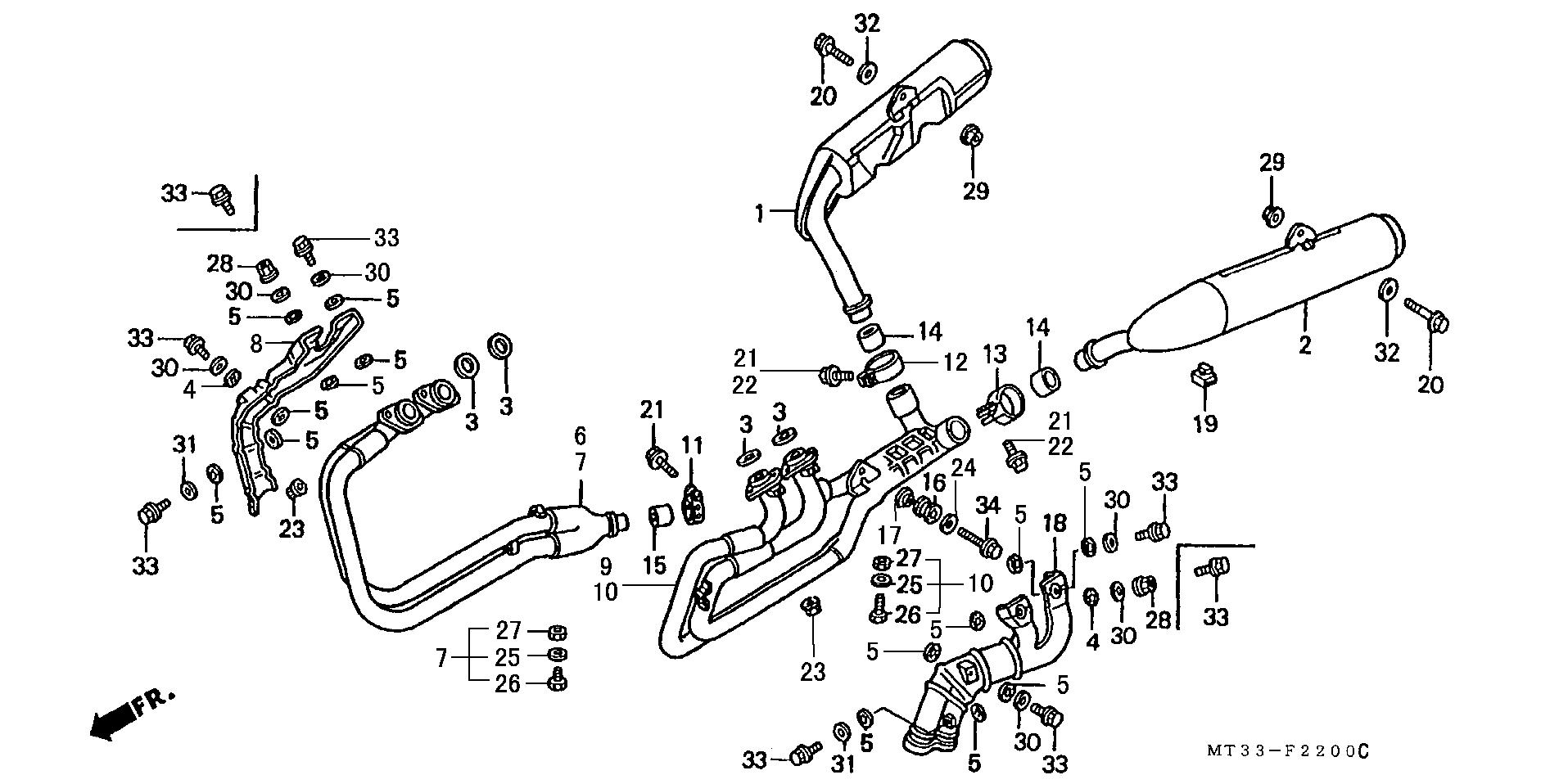 Colector derecho Honda Pan european 1100 1990-2000