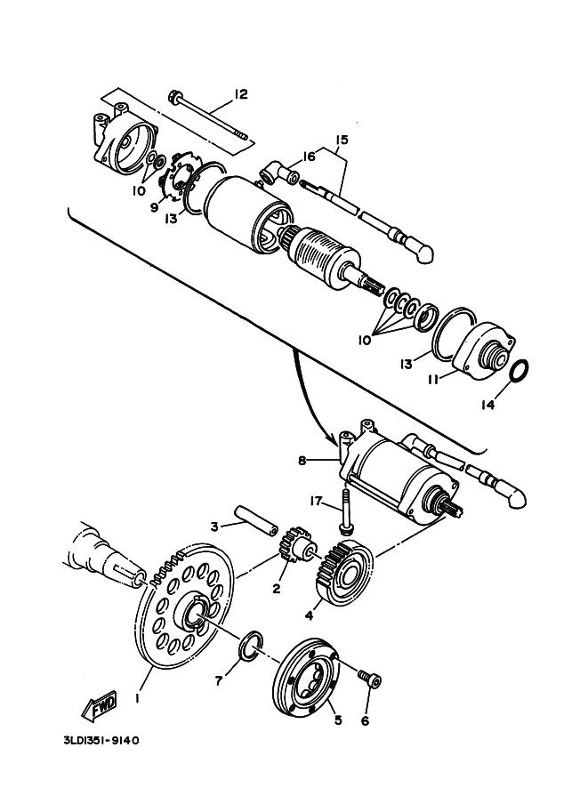 Bendix de arranque completo original Yamaha Tdm 850 1991-1995