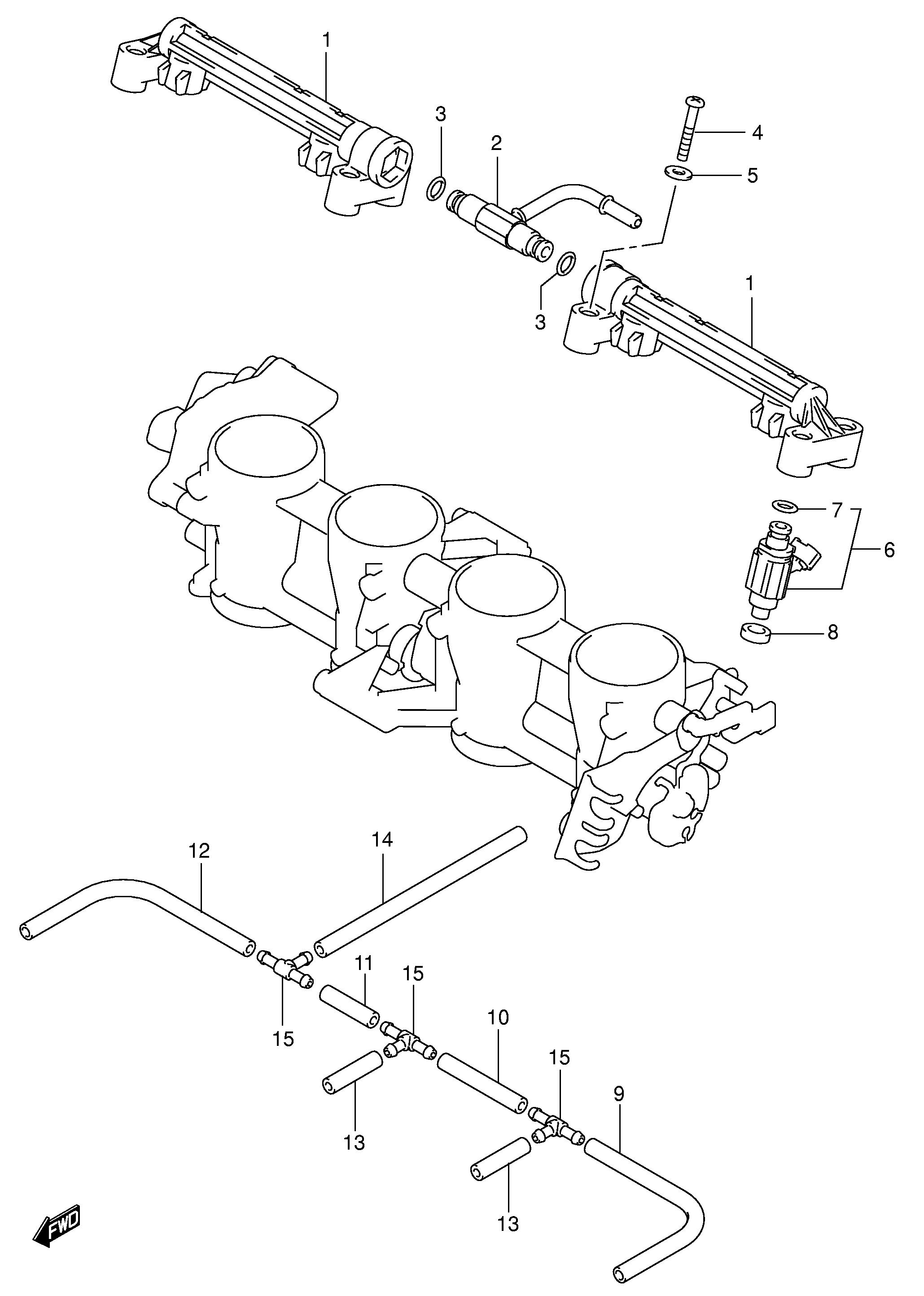Cuerpo inyeccion superior inyectores Suzuki Gsx 600 r 2004