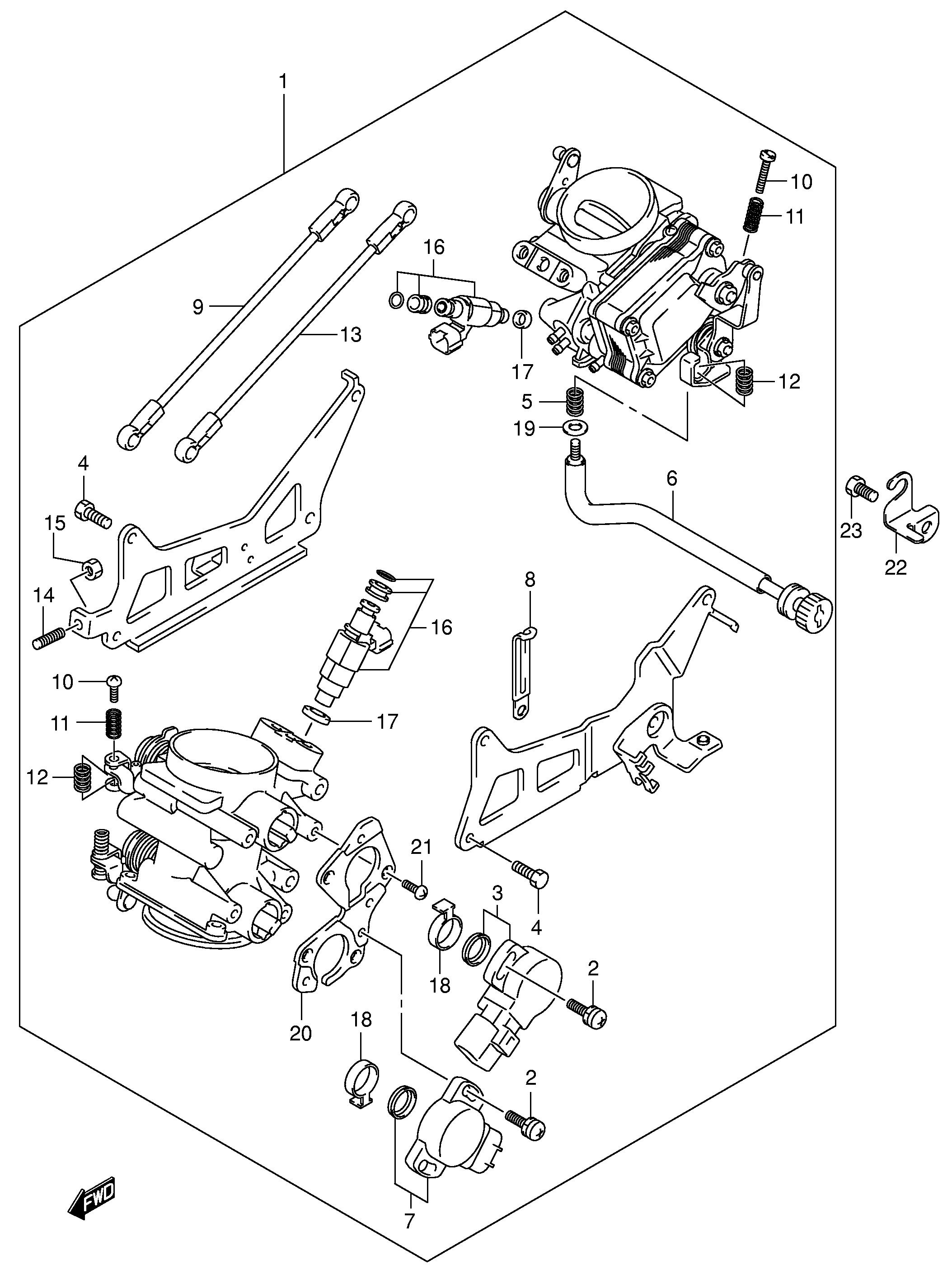 Bateria inyectores Suzuki V strom 1000 2002-2006