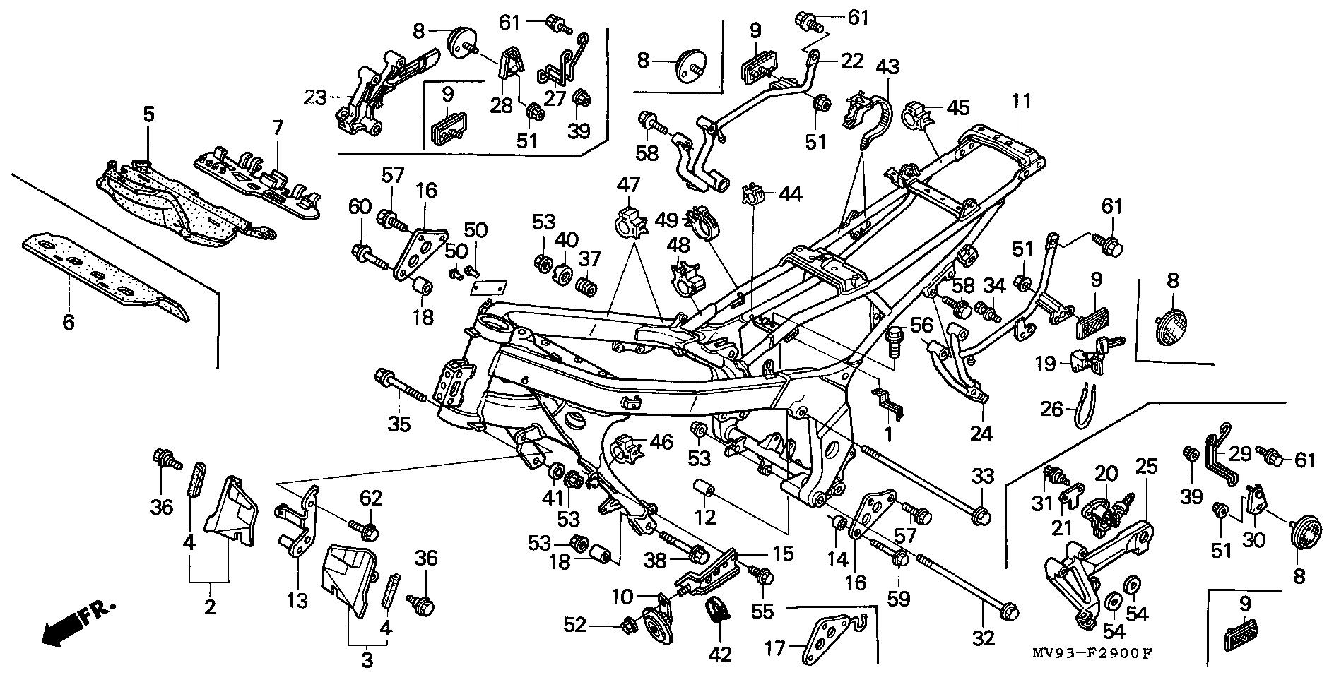 Soporte estribera trasero izquierdo Honda Cbr 600 1991-1996