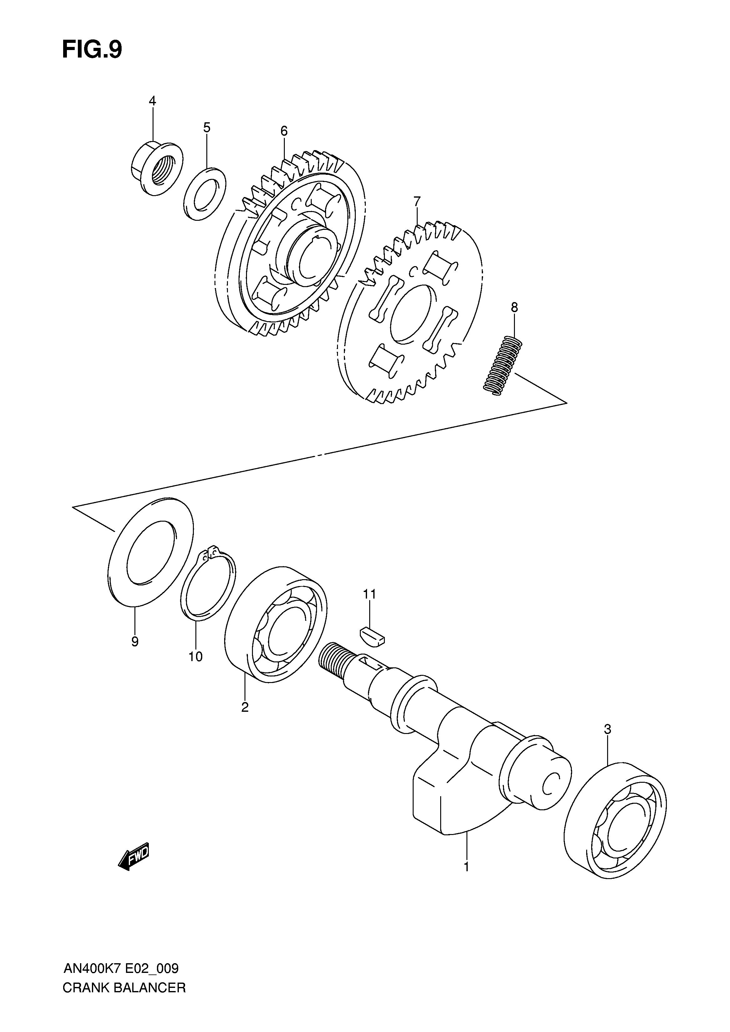 Motor eje balance Suzuki Burgman 400 2007-2013