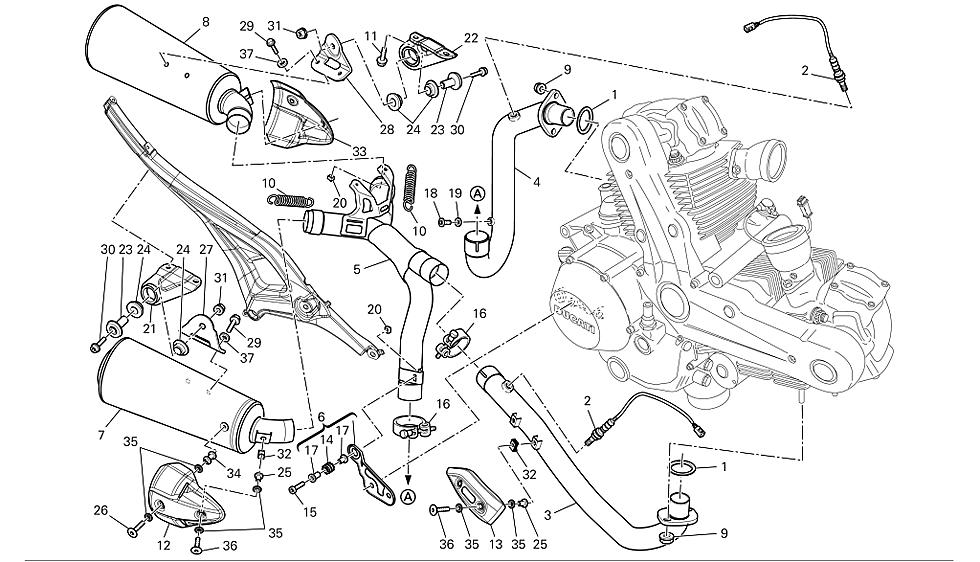 Colector delantero Ducati Monster 696 2008-2011