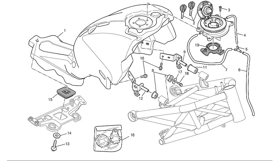 Cerraduras completas codificadas con relojes Ducati