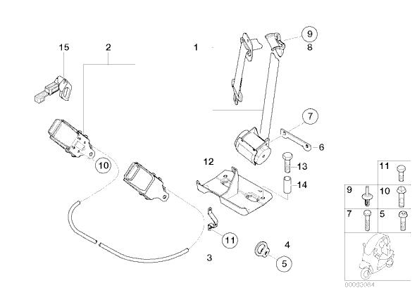 Anclaje cinturones seguridad Bmw C1 125 cc y 200 cc 1999