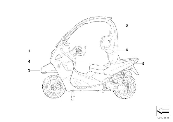 Embellecedor respaldo derecho Bmw C1 125 cc y 200 cc 1999