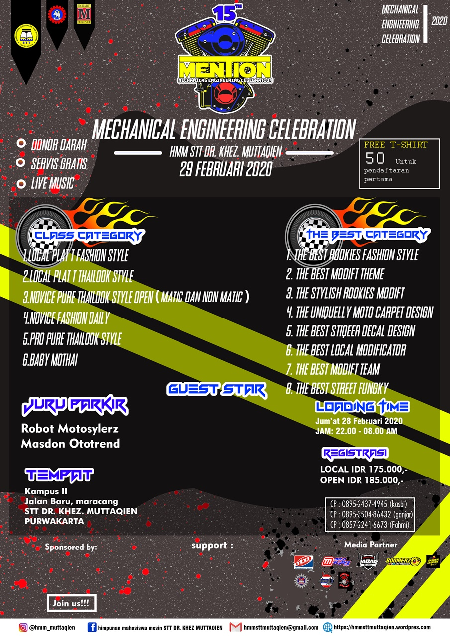 2020 Februari 29 Mechanical Engineering Celebration HMM STT Dr. Khez Muttaqien Purwakarta 2020