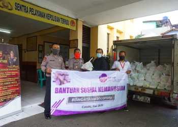 Penyerahan Bantuan Sembako Oleh Manajemen PT Daya Adicipta Motora Kepada Polsek Cimahi Untuk Disalurkan Kepada warga Sekitar